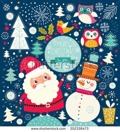 Vector Cheerful Christmas illustration with Snowman and Santa Claus