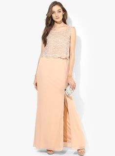 e96c4b8a8b0 Buy MEEE Peach Colored Solid Maxi Dress for Women Online India