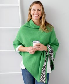 Pea green knitted lambswool poncho