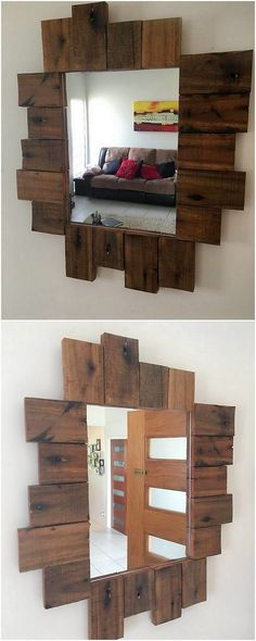 Here we have brought about with the brilliantly designed wood pallet mirror frame for your house. This mirror frame has been all put together with the durable finishing taste of the wood that is giving out the whole creation with outstanding variations.
