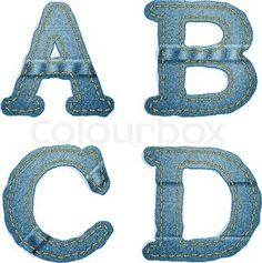 Denim alphabet Jeans letters A B C D with felled seams