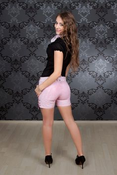 Damen Ledershorts Pink Princess | Damen Lederhosen | Lederhosen | Dirndl.com