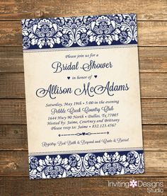 Elegant Bridal Shower Invitation, Wedding Shower Invitation, Damask, Navy, Navy Blue, Rustic, Formal, Customize Your Colors (PRINTABLE FILE)