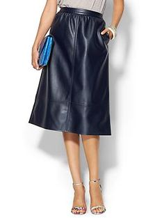 Piperlime Collection Faux Leather Midi Skirt | Piperlime If this came in oxblood, I would buy it immediately!