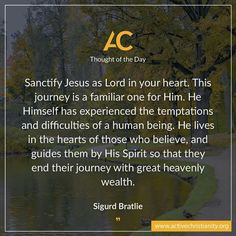 """Imagine what it's like when Jesus Christ, God's Son, sits and rules unrestrained on the throne of our hearts as an indwelling power. Have I considered the phenomenal outcome of having Jesus as the sole Lord and Master in my life? Read more if this is your longing, in today's article """"Is Christ really the ruler of your heart?""""   Read the article that this TOTD belongs to here: http://activechristianity.org/a-journey-in-a-foreign-land/"""