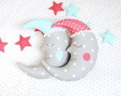 Moon Pillow Stuffed Moon Crescent Moon Moon by LunarDesignShop