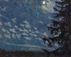 Evald Kallstenius (Swedish, 1898-1957), Spruce in Moonlight, c.1930. Oil on canvas.