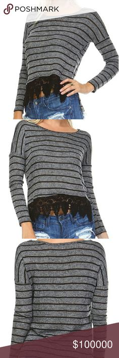 Hatchi cricket top Long sleeve stripe Hatchi top with crochet front hem.  71% polyester  26% rayon  3% spandex.   Hand wash cold Tops Blouses