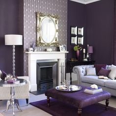 I want to do a purple room in my house SO BAD.  This looks a lot like Z Gallerie.