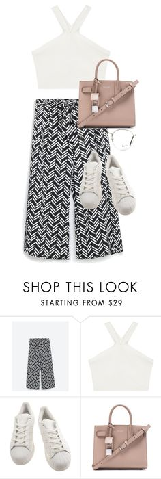 """""""Untitled #2771"""" by elenaday on Polyvore featuring BCBGMAXAZRIA, adidas, Yves Saint Laurent and Ray-Ban"""