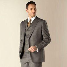 Jeff Banks Grey pick and pick 2 button regular fit 3 piece suit- at Debenhams.com
