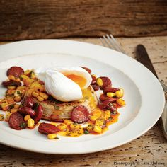 Toasted Crumpets with Poached Eggs, Chorizo and Sweetcorn
