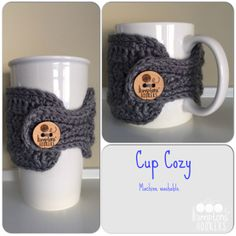 This cup cozy can be used on a travel mug or a mug with a handle. Create Yourself, Finding Yourself, Handmade Market, New Pins, Women's Accessories, Cocoa, Crocheting, Knit Crochet, Sewing Projects