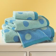 The Land of Nod | Kids Bath Towels: Kids Blue Dotted Bath Towels in Towels & Washcloths (for boys' bathroom?)