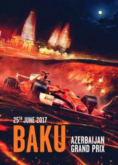 Ferrari poster van Grand Prix in Azerbeidzjan