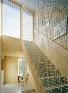 Floor to ceiling Metal Mesh instead of a railing