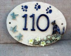 Pussycat house number plaque, ceramic number, oval house sign.