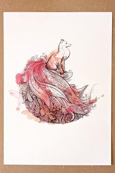 Peafox Art Print. Peacock and Fox. Watercolor Art. via Foxisle Etsy.