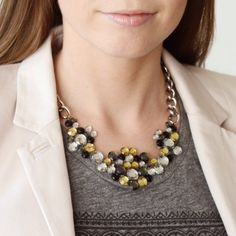 Make a stylish statement necklace using faux gemstones and silver chain... an easy and affordable project! Soo simple :D #DIY2try
