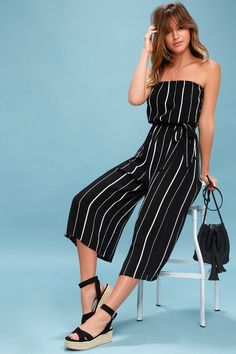 We are obsessing over the All Abuzz Black and White Striped Strapless Midi Jumpsuit! Gauzy fabric cascades over a strapless bodice and midi pants. Two Piece Jumpsuit, Fitted Jumpsuit, Strapless Jumpsuit, Jumpsuit Outfit, Striped Jumpsuit, Black Jumpsuit, Black Romper, Jumpsuits For Women, Spring Outfits