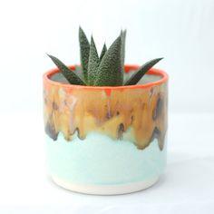 Round Ceramic Planter Cactus  Succulent Planter by McCheeksMayhem (Home & Living, Outdoor & Gardening, Planters & Pots, planter, ceramic, succulent, cactus, turquoise, brown, drippy glazes, McCheeks Mayhem, round planter, landscape colors, pottery, orange, handcast)