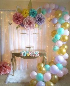 décoration ballon anniversaire fleurs licorne créative