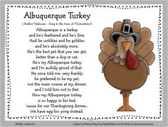 "An adorable turkey/Thanksgiving song for the classroom or a family gathering. For a fun follow-up have students draw pictures of ""Al."""