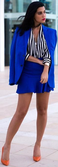 Cobalt + Stripes. Love the colour combo but would ditch the jacket and have a longer skirt for a gorgeous work outfit