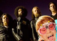 The new Alice In Chains with Elton John... who played piano for them on the new record.