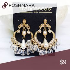 Pearl chandelier earrings Brand new pearl  and clear bead chandelier earrings from Francesca's. Adds a Flirty touch to any outfit. Francesca's Collections Jewelry Earrings