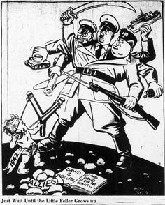 world war two political cartoons | Political cartoon shows baby 1942 taking on the Axis of Power
