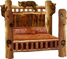 Bear hand carved onto bed