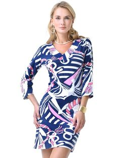 Barbara Gerwit Vintage Print Knit Dress in Navy/Pink by Barbara Gerwit from THE LUCKY KNOT - 1