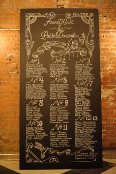 Chalkboard Wedding Reception Table Assignments - such a nice change up compared to doing the same old fashioned place cards. Wedding Table Assignments, Wedding Reception Tables, Wedding Venues, Reception Ideas, Wedding Ceremony, Casual Wedding, Trendy Wedding, Fall Wedding, Wedding Order