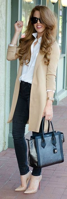 Grey And Camel Outfit Idea