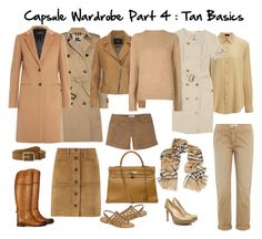 """Capsule Wardrobe Part 4 : Tan Basics"" by lynelab on Polyvore featuring Joseph camel coat and silk blouse, Burberry trench, safari dress and scarf, SET leather jacket, The Elder Statesman cashmere sweater, Rag & Bone belt and suede skirt, Mountain Khakis shorts, Current Elliott chinos, Ralph Lauren boots, Hermès Kelly bag, M. Belarbi tropéziennes, and L.K. Bennett heels."
