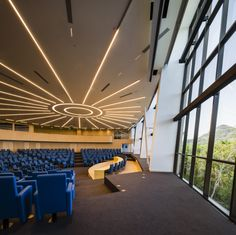 Parlatino - Seat of the Latin American Parliament in Panama city - Architectural and Lighting design: Mallol and Mallol Arquitectos - Lighting products: iGuzzini illuminazione - Photographed by Fernando Alda #laserblade #Lines #light #Lighting #iGuzzini
