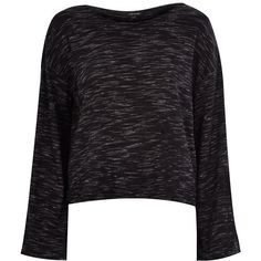 River Island Dark grey marl wide sleeve top ($20) ❤ liked on Polyvore featuring tops, grey, sale, t-shirts / tanks / sweats, women, grey top, sleeve top, river island top, drop shoulder tops and river island