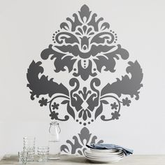 Large Marquise Damask Wall Stencil Home Decor   Stencil Boss $34