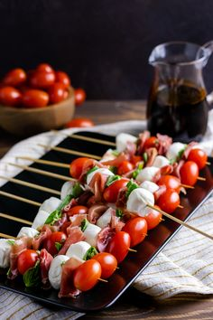 When you need a party appetizer in a pinch, these easy Italian salad skewers are the perfect recipe! Make a few or make a lot, they're a handheld version on the classic caprese salad! Appetizers For Kids, Italian Appetizers, Finger Food Appetizers, Italian Recipes, Vegan Recipes, Cooking Recipes, Skewer Recipes, Appetizer Recipes, Kale Pesto