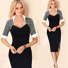 Womens Fashion Houndstooth Stitching Stand Collar Colorblock Evening Party Dress