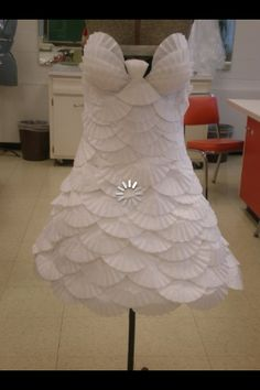 a coffee filter dress I like how they look like scales... would make a fun table cloth for the party or???