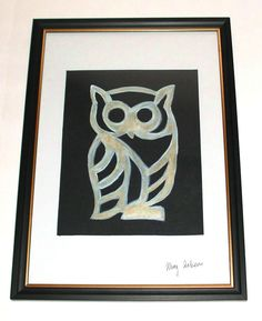 Owl Painting Watercolour and Acrylic Original Craft with Frame A4 http://stores.ebay.co.uk/magzeben/