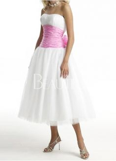 White Strapless Pink Sash Beaded Satin Cocktail Dress