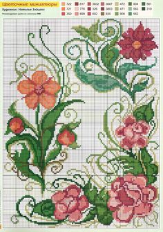 Blomster x-stitch. Bet it would be pretty embroidered too. Cross Stitch Borders, Cross Stitch Flowers, Cross Stitch Charts, Cross Stitch Designs, Cross Stitching, Cross Stitch Patterns, Ribbon Embroidery, Cross Stitch Embroidery, Embroidery Patterns