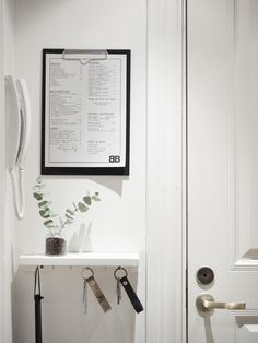 Clever shelf (landing strip) for keys, mail, etc. in the entryway (is it an IKEA RIBBA turned upside down?). Perfect in small apartments.