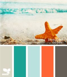 Beach colors! patriciaalberca.blogspot.com Our new office is orange, I'd love to use the grey and teals in it!