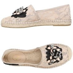 Ash Espadrilles (3.035 ARS) ❤ liked on Polyvore featuring shoes, sandals, pink, flat sandals, pink sandals, pink shoes, flat shoes and beaded sandals