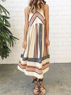 Woven fabric Round neck Contrast stripe print Midi length Regular fit Hand wash 100%Polyester