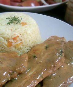 Chicken Fillet with Mustard Sauce & Thyme Greek Recipes, Meat Recipes, Chicken Recipes, Cooking Recipes, Healthy Recipes, Greek Cooking, Easy Cooking, How To Cook Chicken, Diy Food